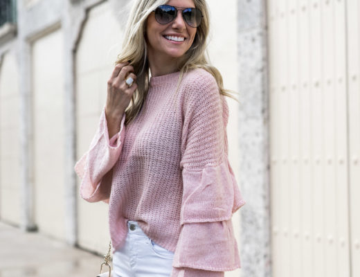 blush belle sleeve detail sweater