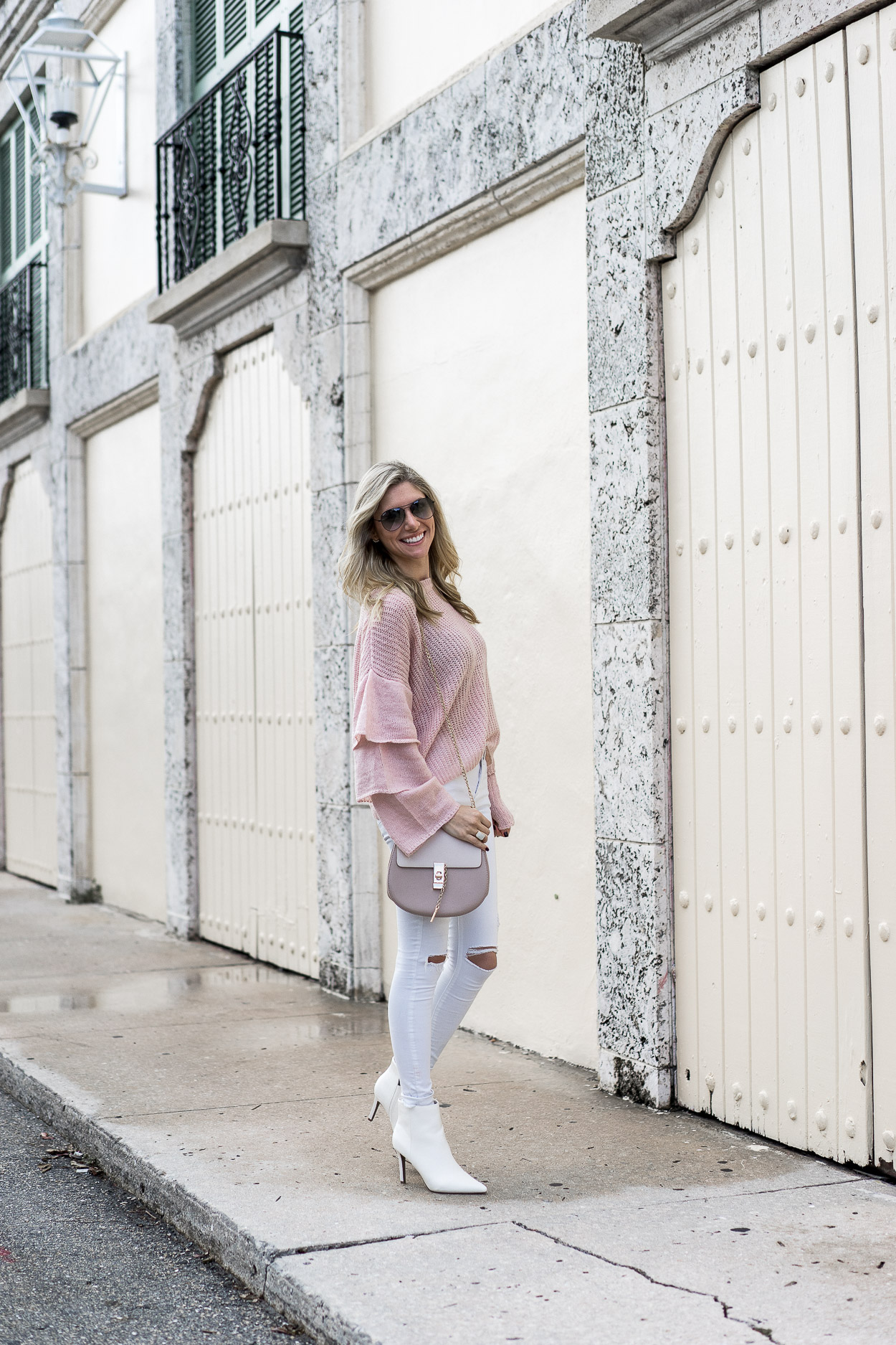 blush white and neutral outfit details