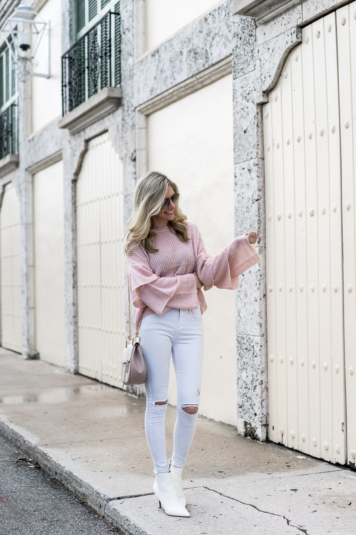 tiered ruffle sleeve pink sweater