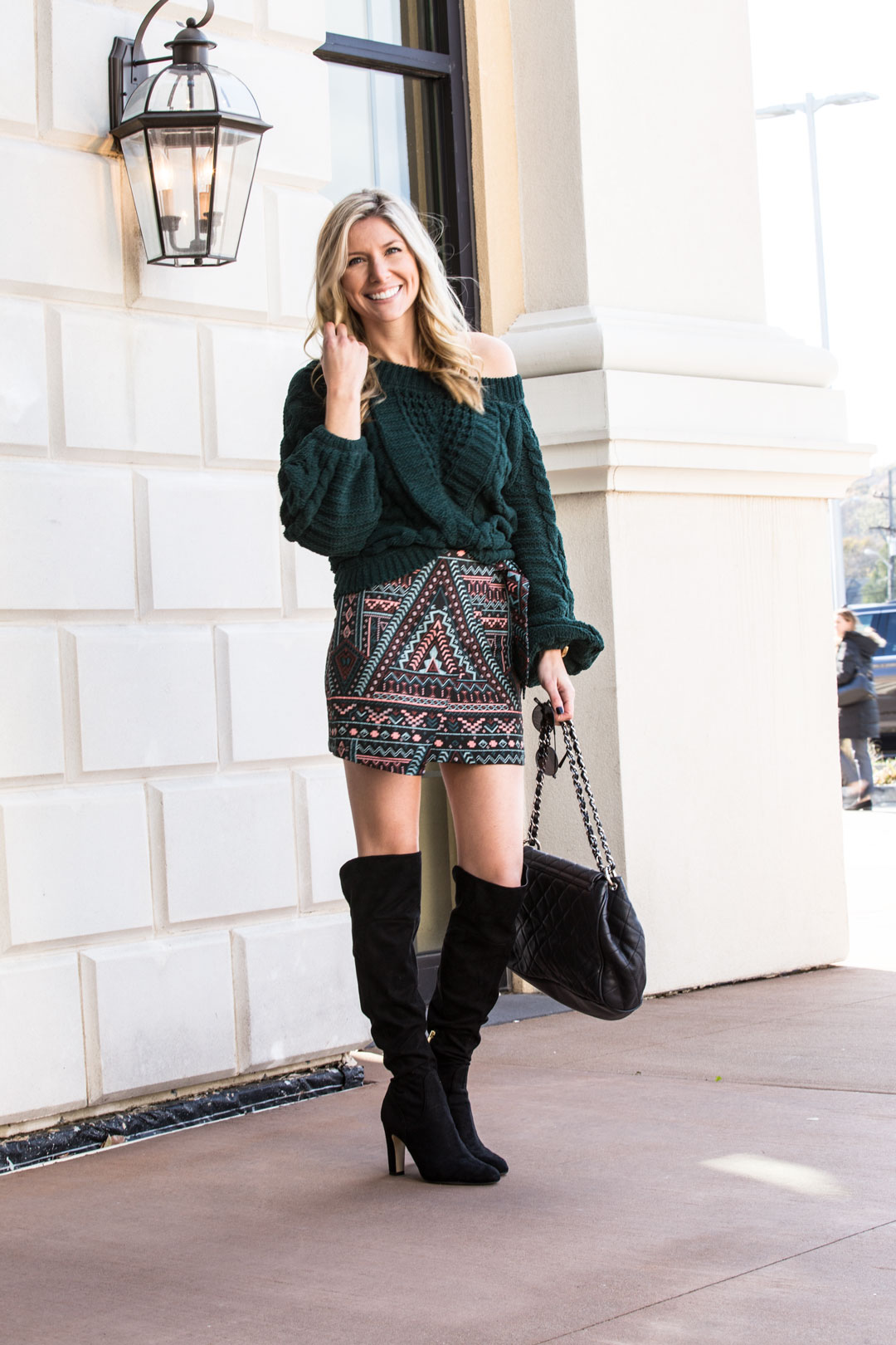 Express Jacquard Skirt and Cableknit Sweater