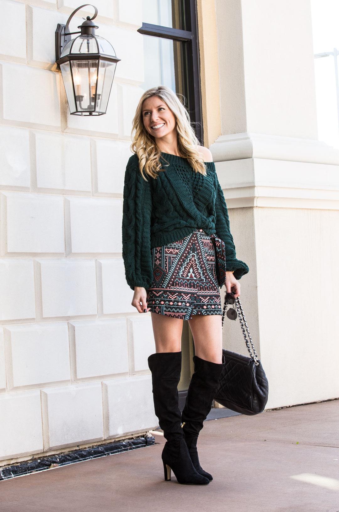 Express Jacquard Skirt and Cableknit Sweater