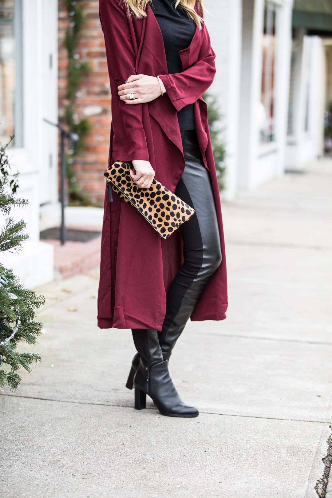 leopard clare v clutch and black booties