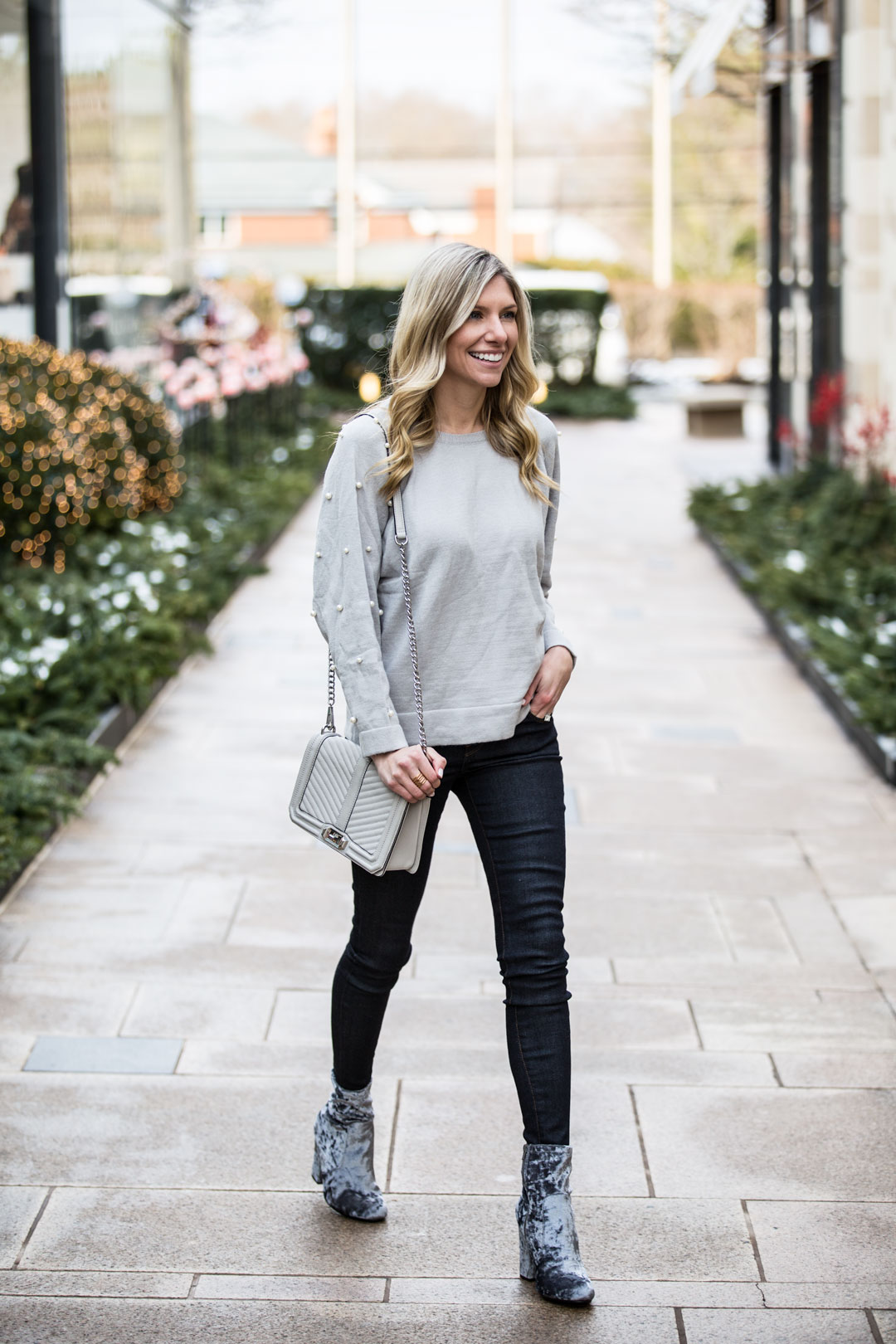 Romwe Pearl Embellished Sweater under $25