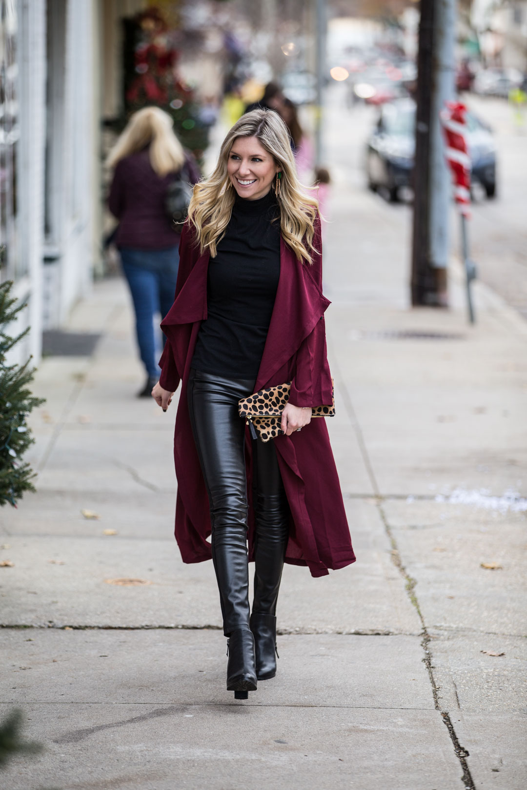 edgy street style look with long cardigan
