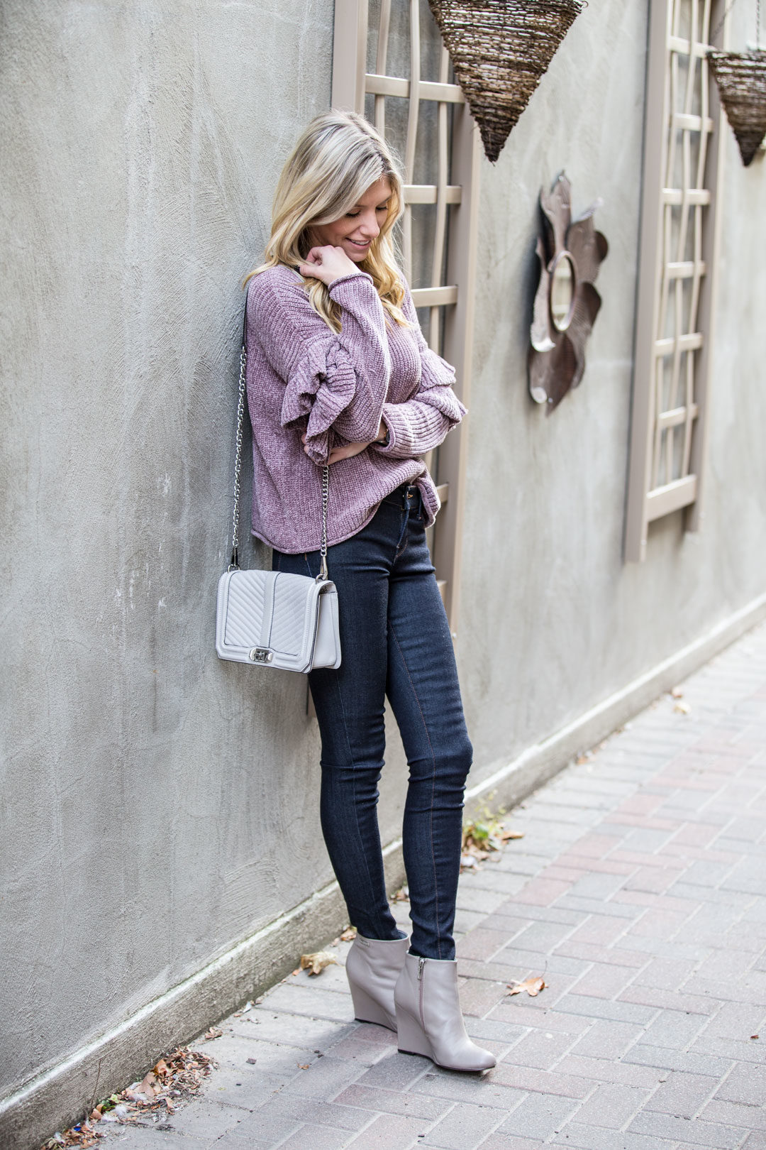 Lavender Ruffle Sleeve Sweater