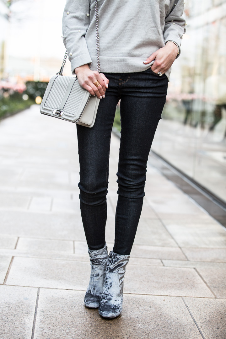 Gray Velvet Booties for Winter