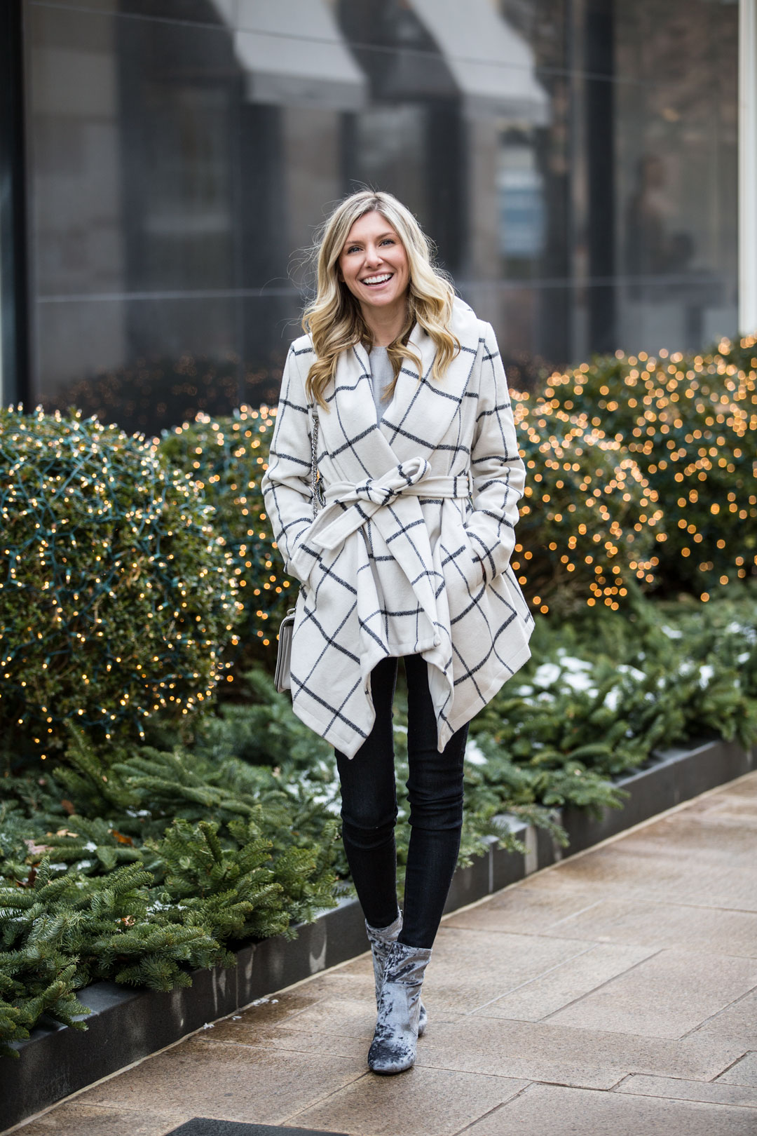 Chicwish Grid Coat under $100