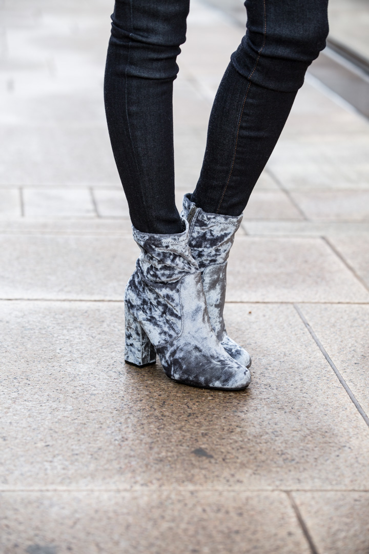 Gray Velvet Booties perfect for winter