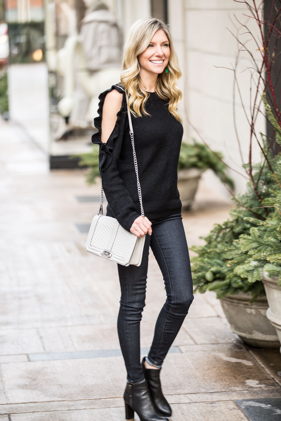 Romwe Cold Shoulder Ruffle Sweater under $20