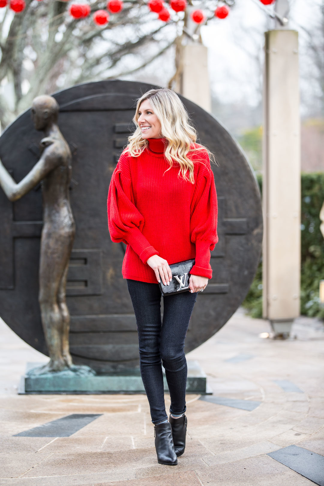 Red Holiday Bell Sleeve Sweater