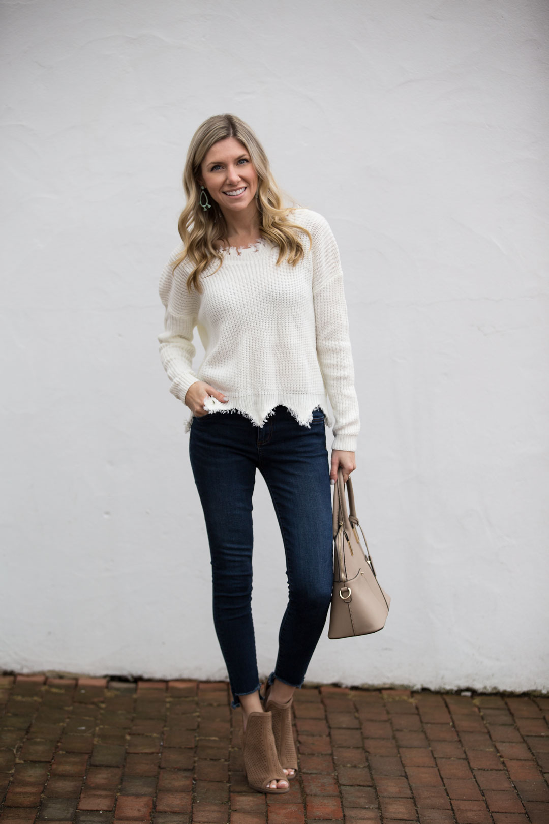 Scalloped Hem Sweater and Cropped Jeans