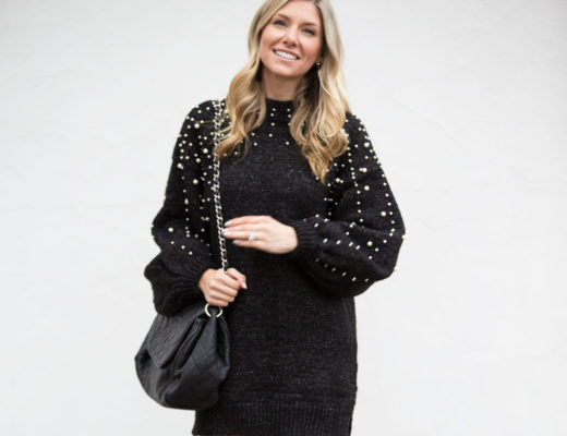 Casual Sweater dress with Pearl Embellished Sleeves
