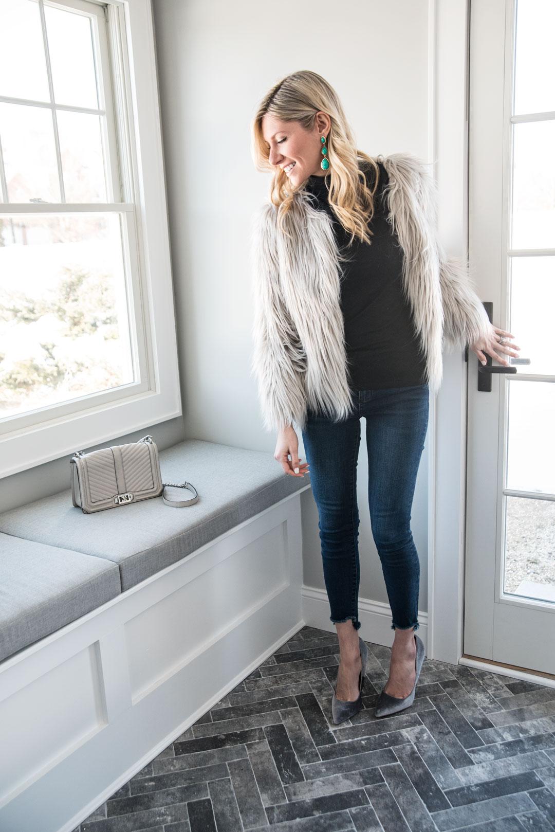 gray winter fashion details
