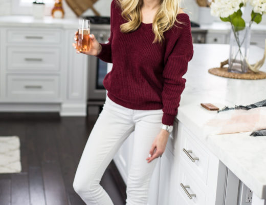 Pearl Embellished Burgundy Sweater