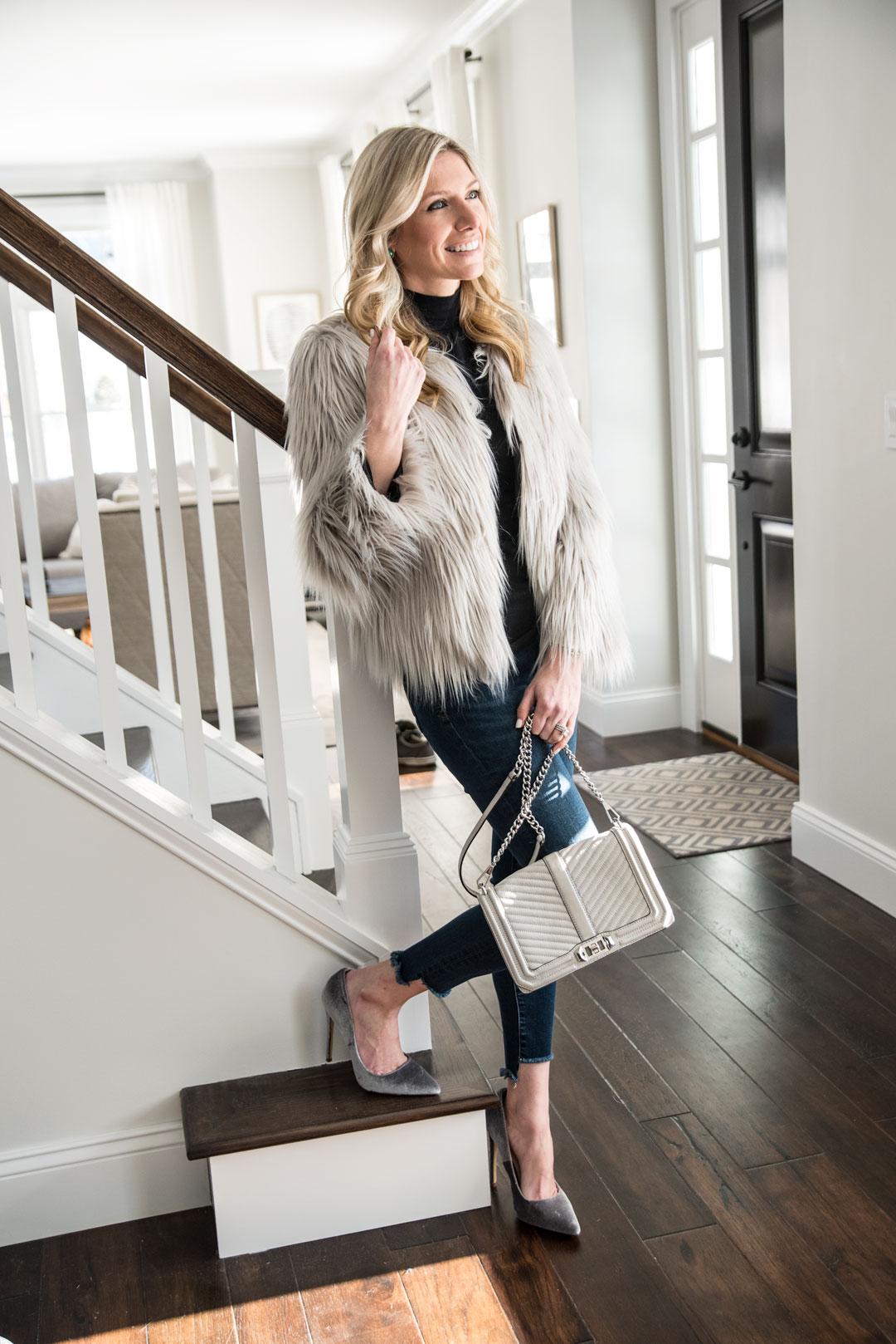 gray jacket and heels