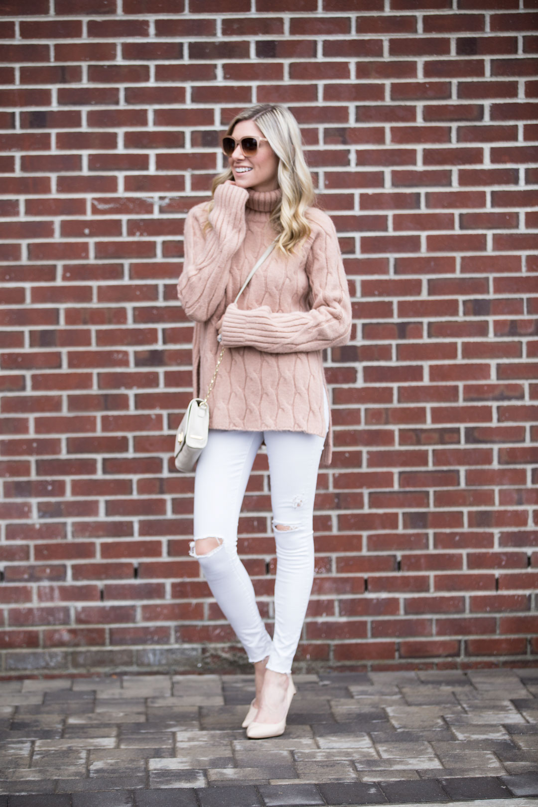 casual winter weekend outfit dressed up with nude pumps