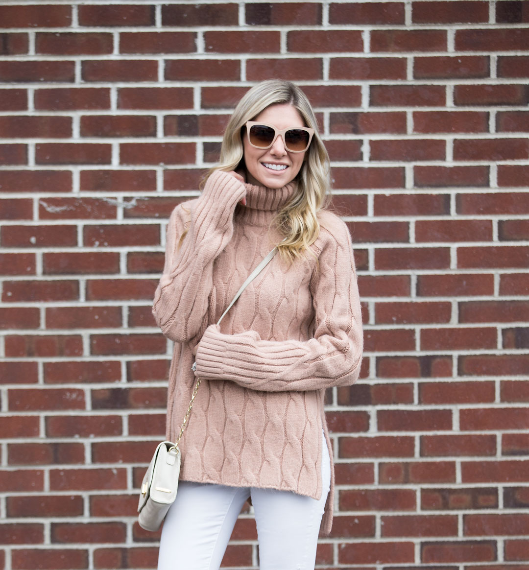 chicwish cableknit tunic sweater in light brown