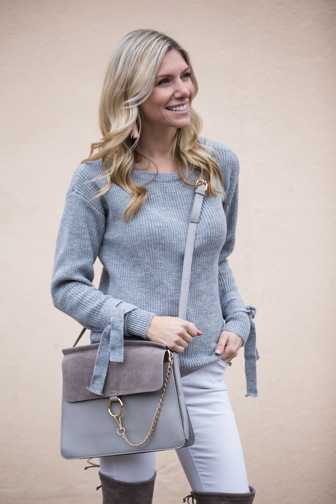 Gray Lace Detail Sweater and Over the Knee Boots
