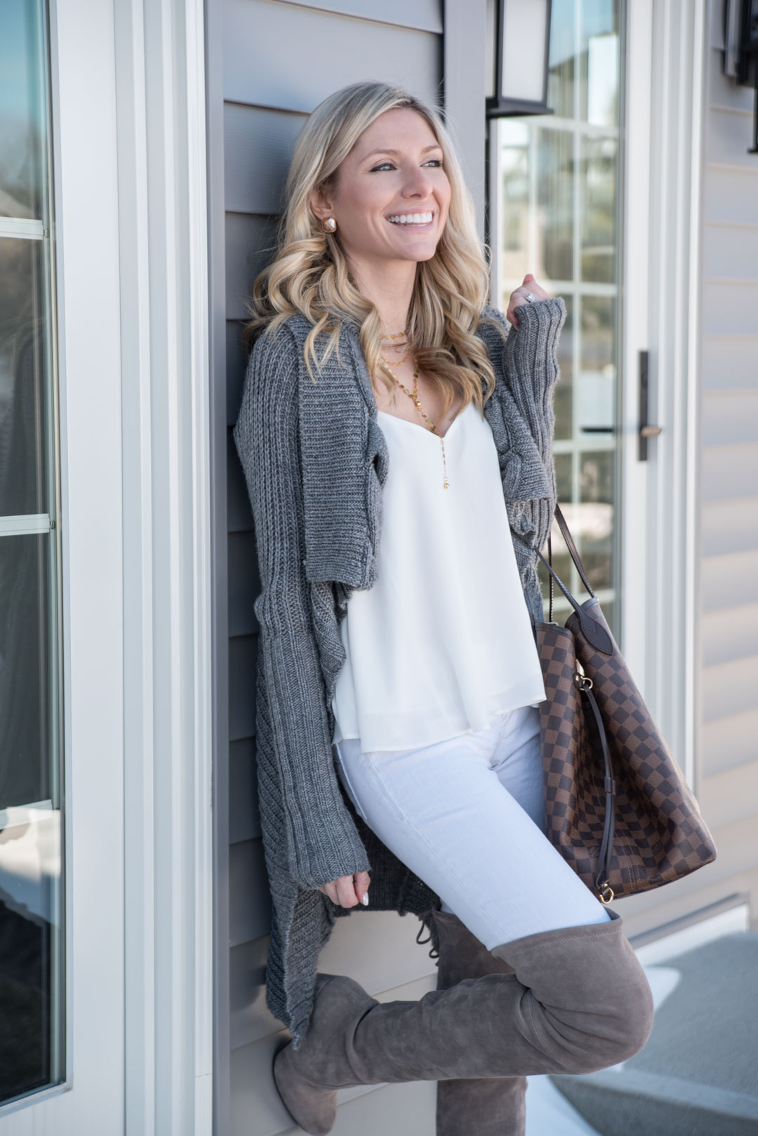 cozy gray cardigan and white v-neck tank top