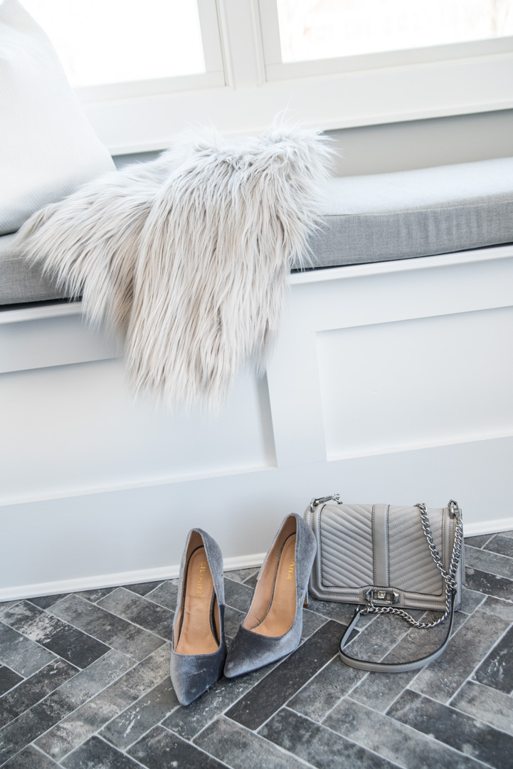 gray faux fur and velvet pump details