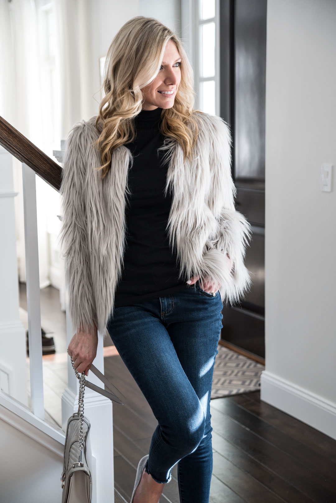 faux fur long hair gray jacket