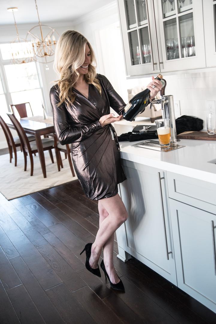 bronze metallic long sleeve wrap dress under $200