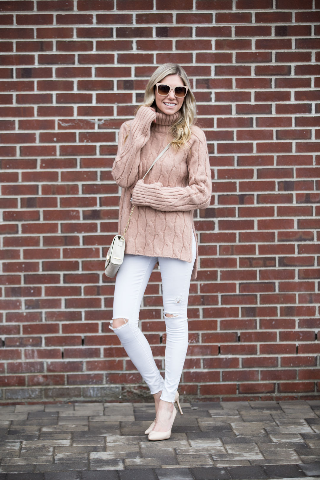 tan turtleneck tunic sweater from chicwish under $75