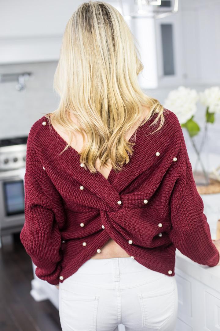 Pearl Embellished Burgundy Sweater