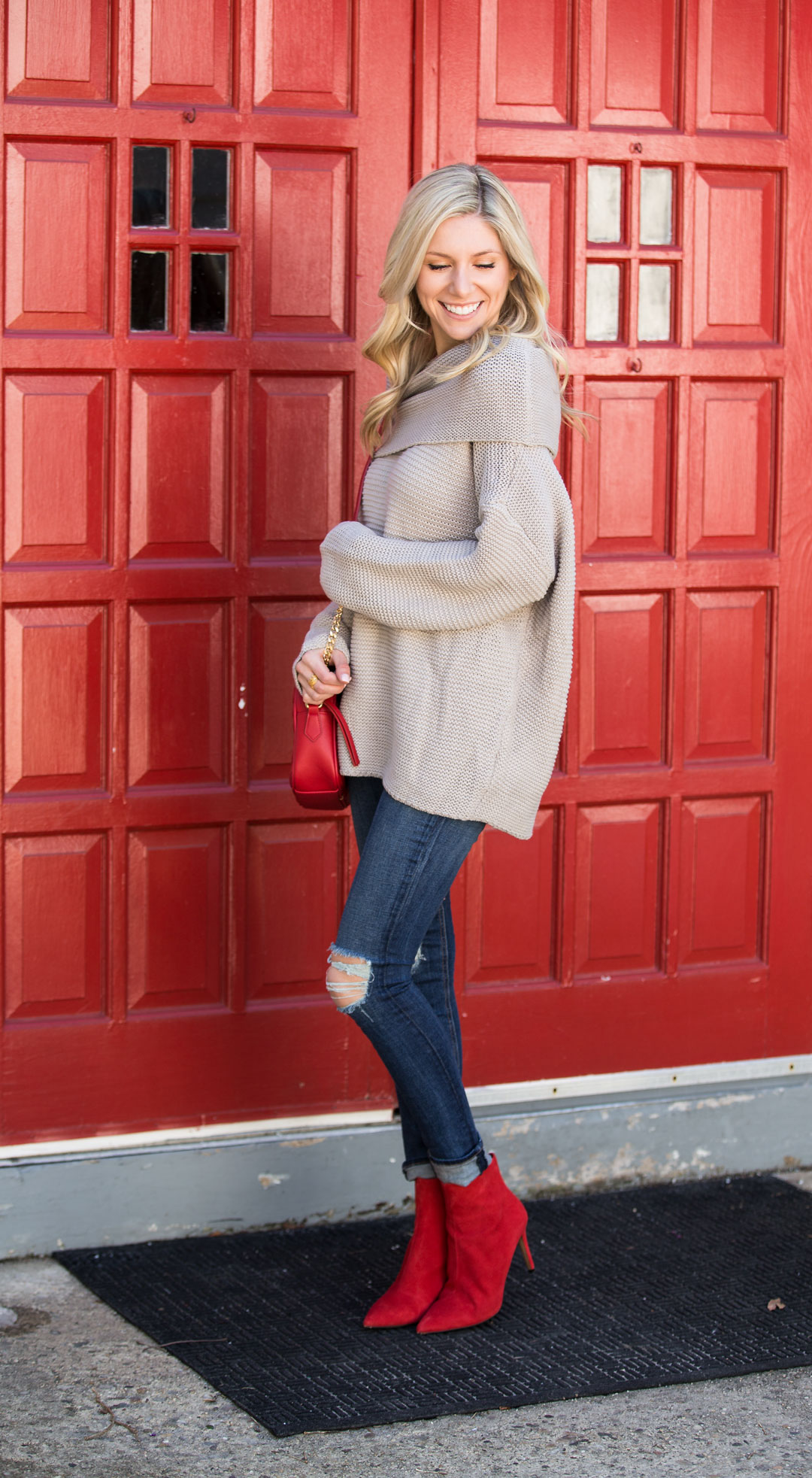 Red Dress Boutique Gray Fold Sweater