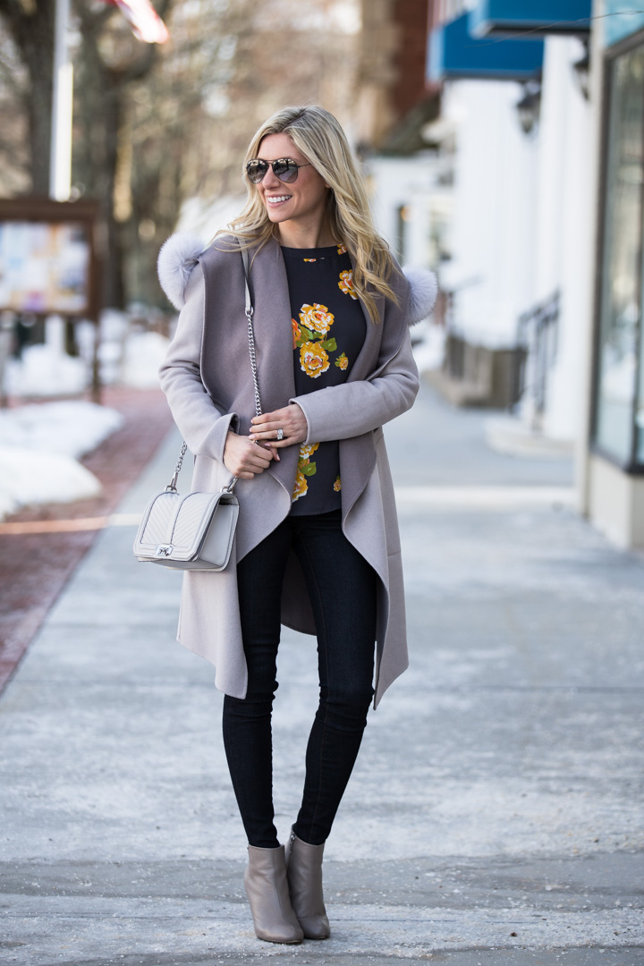 neutral gray light jacket with fur collar