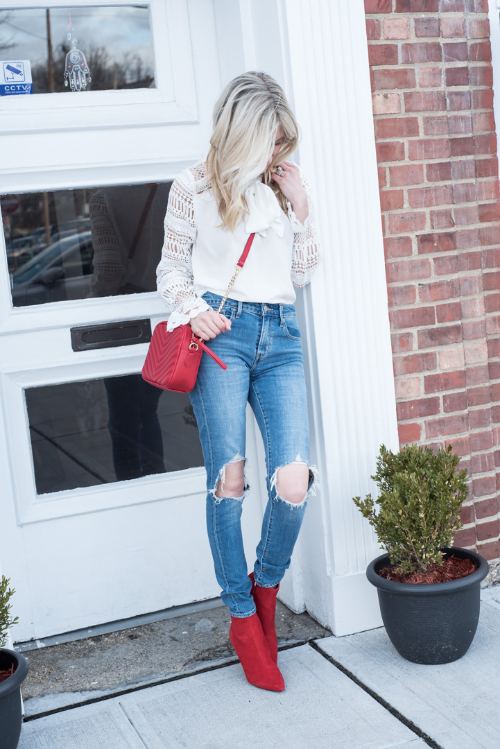 Lace Sleeve Top nder $20 and Red Booties and Bag