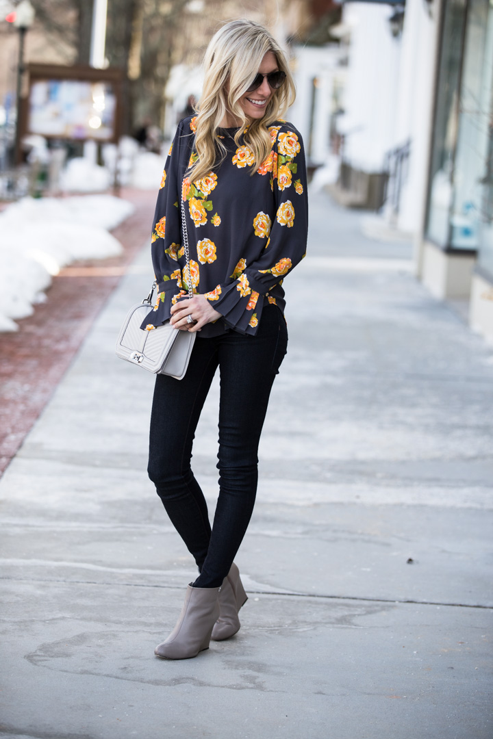 gray and floral outfit details