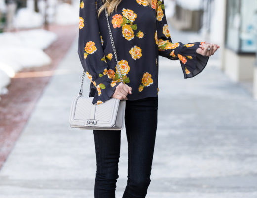 pleated bell sleeve peony blouse from loft