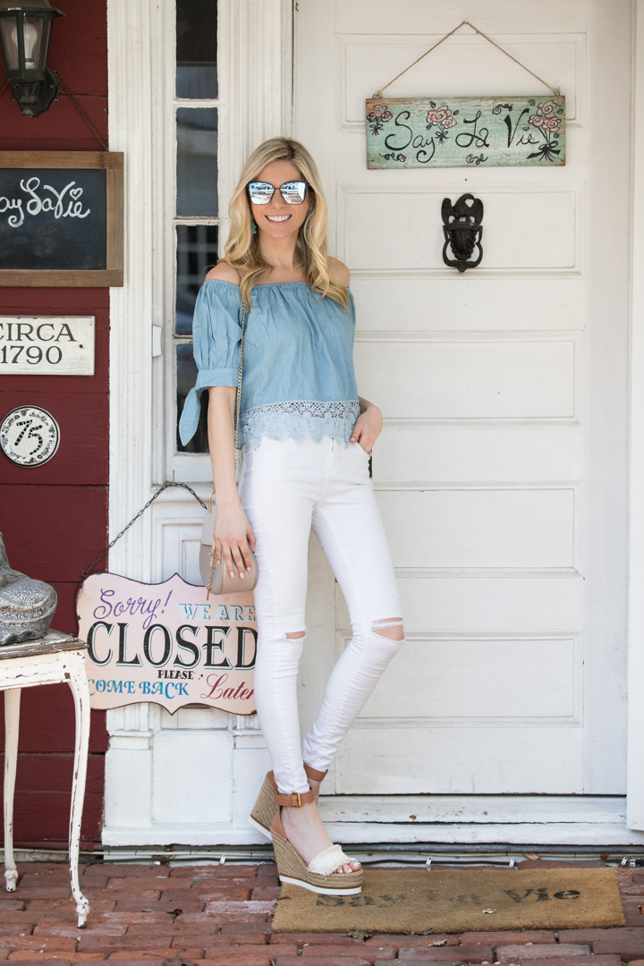 Shein Cold Shoulder Chambray Top under $20