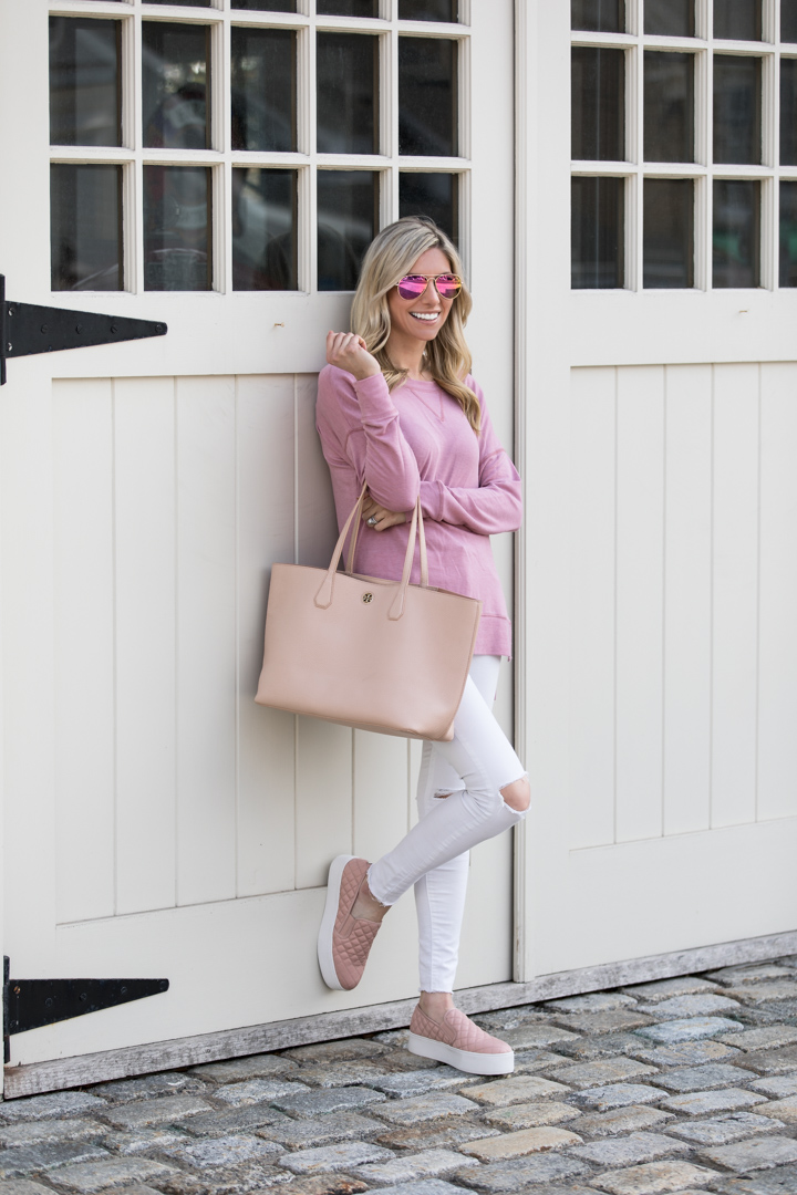 Casual Pink Flats And Tote Bag Perfect Outfit For Running Errands The Glamorous Gal The Glamorous Gal Everything Fashion