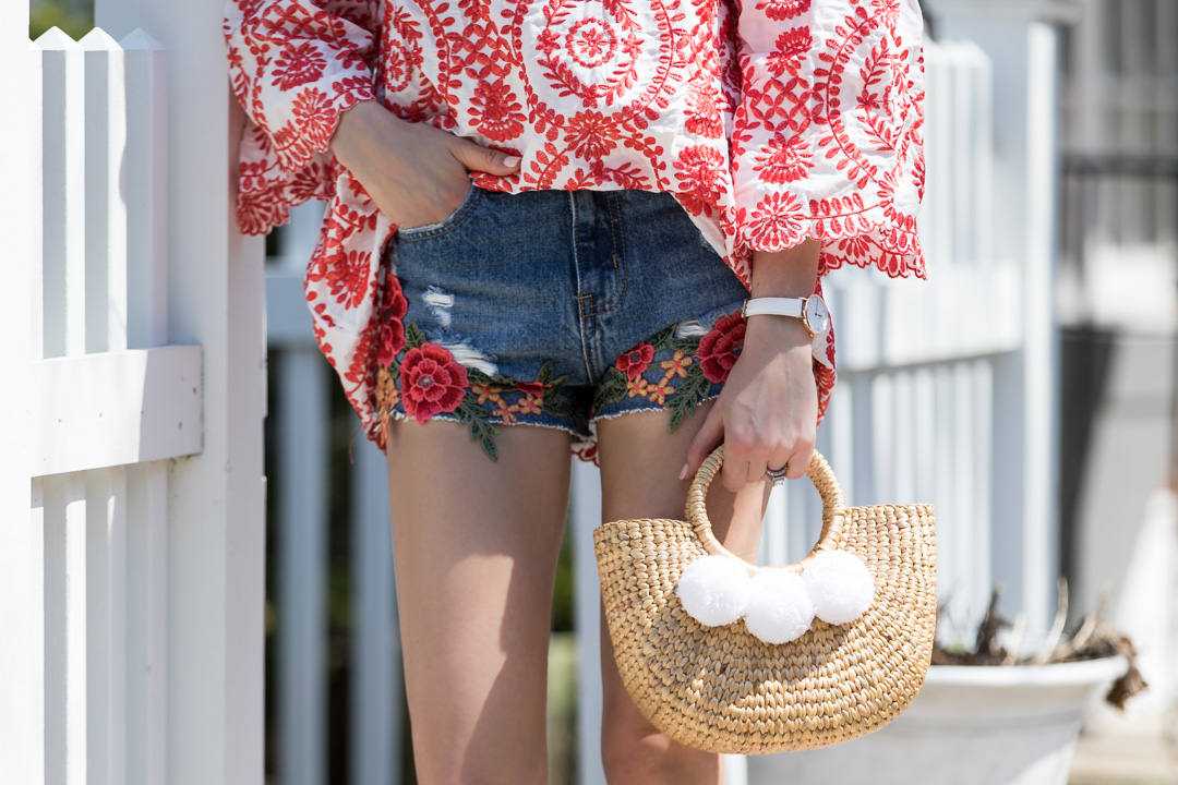 Chicwish Embroidered Shorts & Cold Shoulder Top
