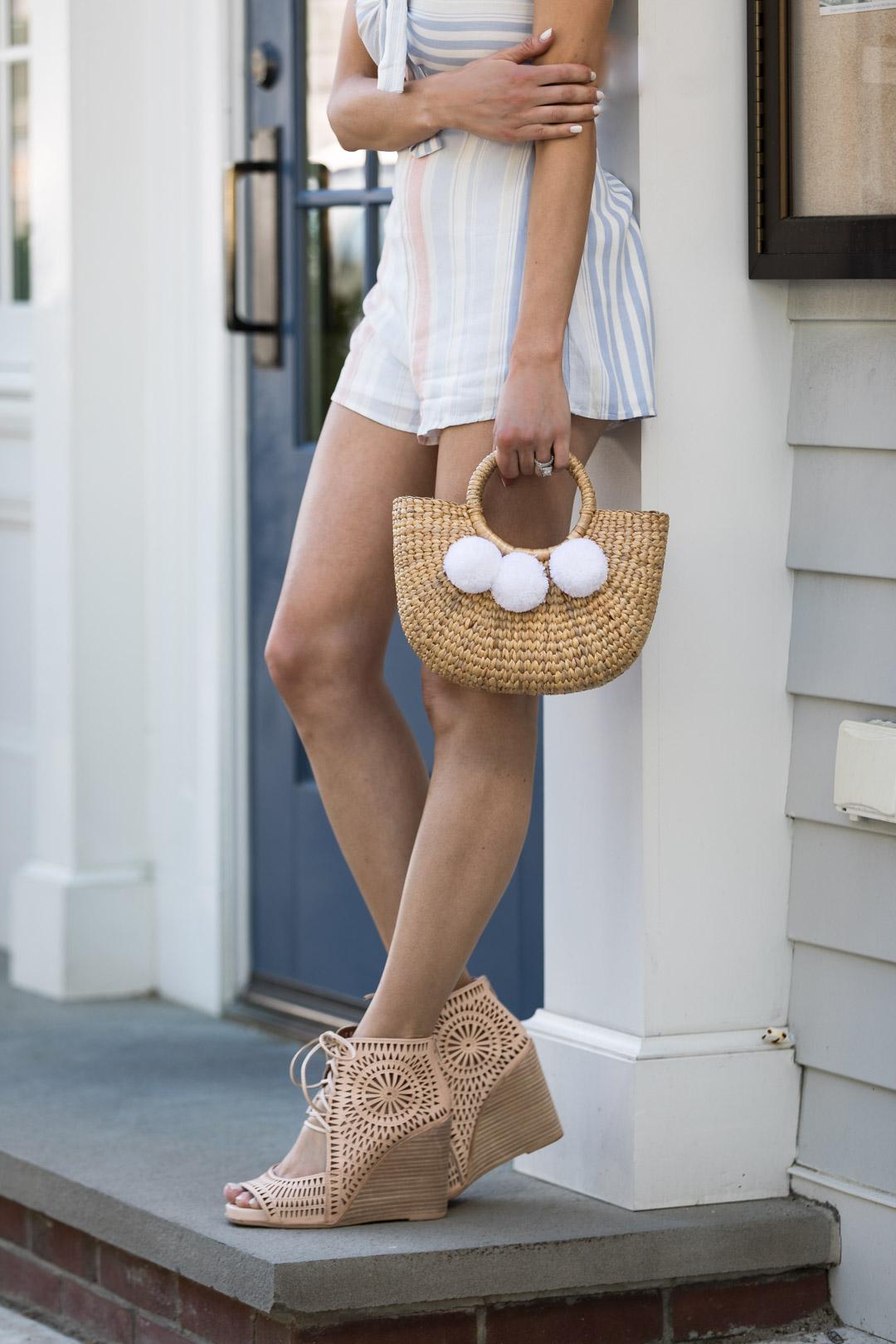 Striped Romper and Basket Bag