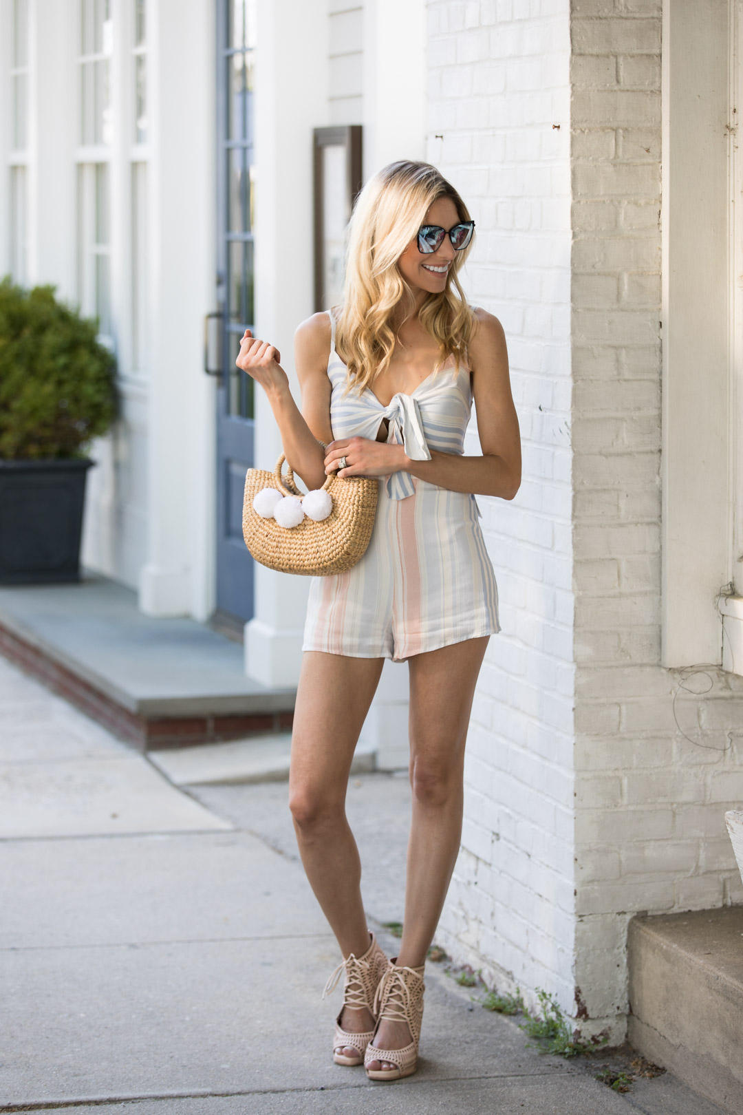 Striped Romper and Basket Bag