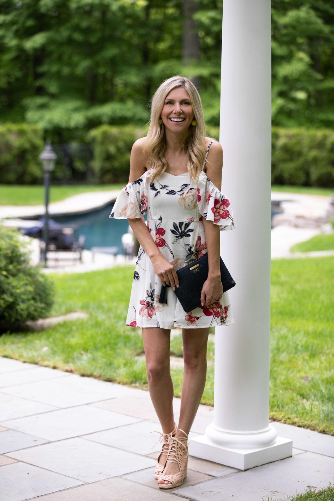 bf3e697b50 Shein Floral Cold Shoulder Dress