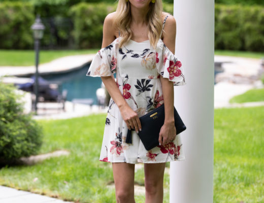 Shein Floral Cold Shoulder Dress