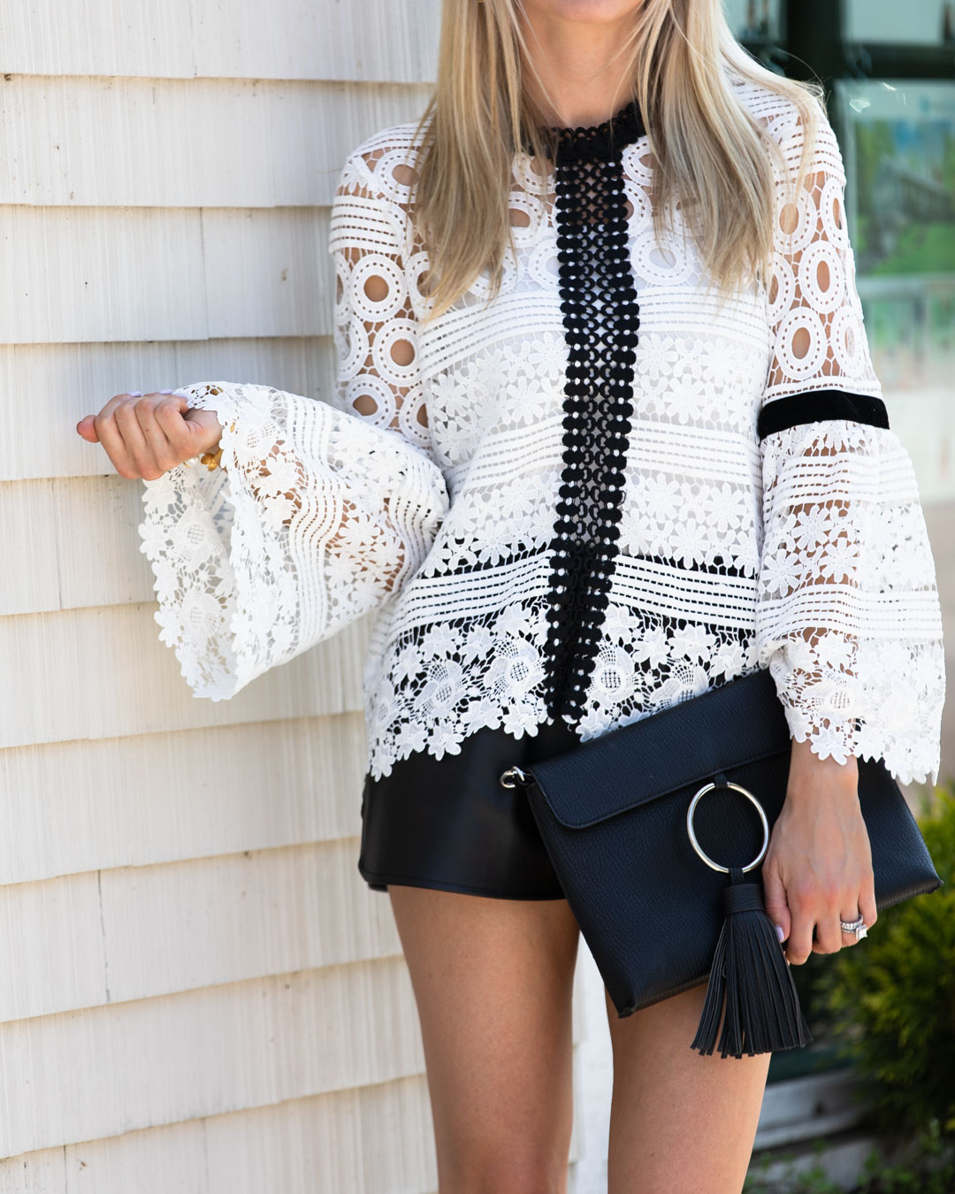 Chicwish Black and White Lace Top