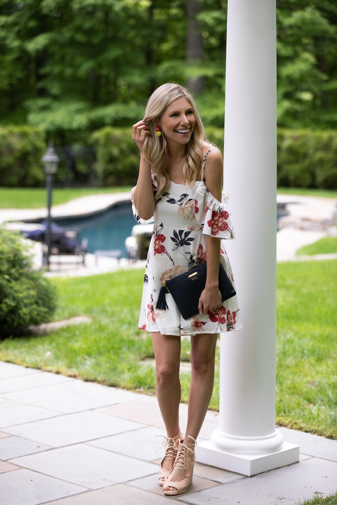 Shein Floral Cold Shoulder Dress