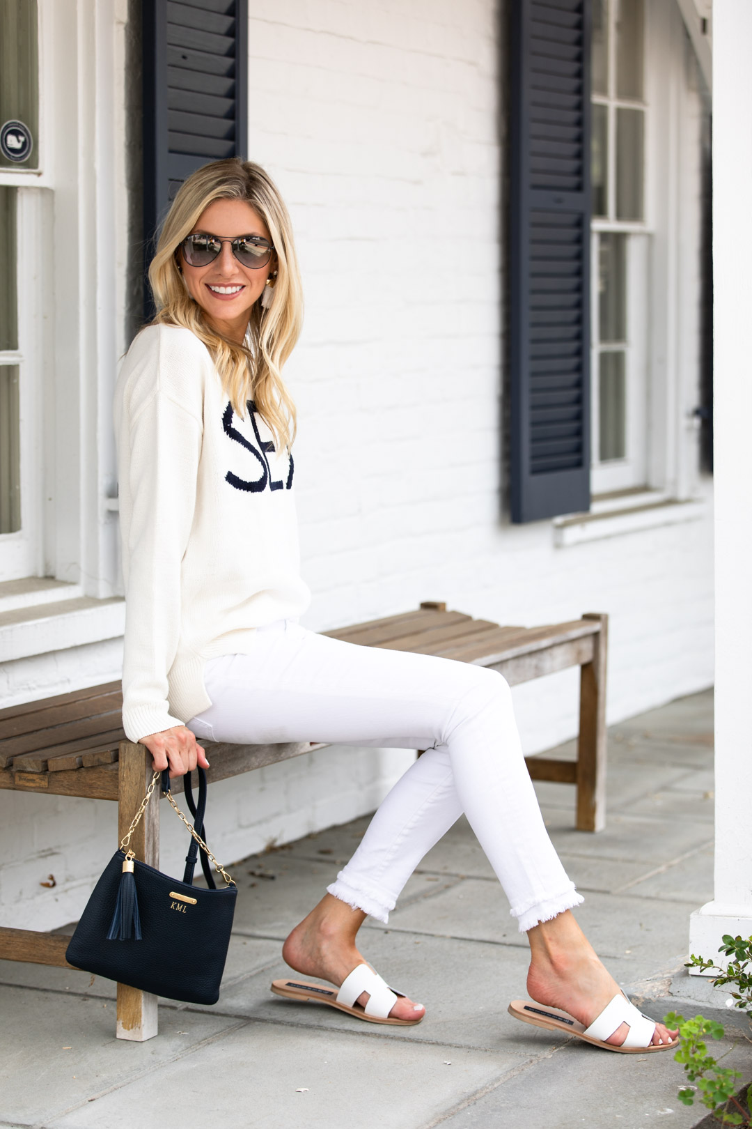 Loft Nautical Sweater & White Jeans