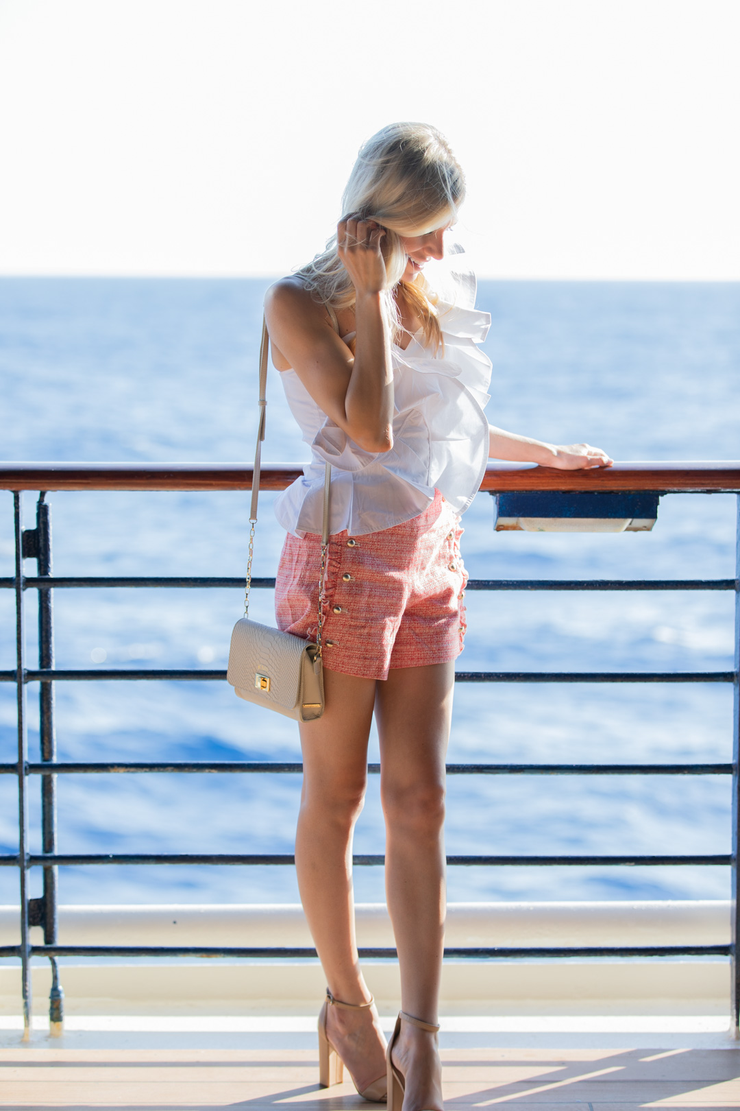 Club Monaco Shorts and Ruffle Top