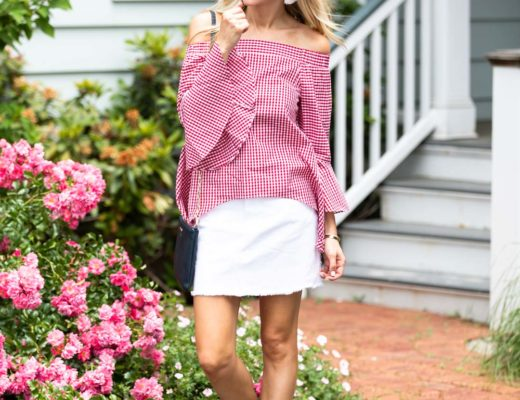 Out of the Box Gifts Red Gingham Top and White Denim Skirt