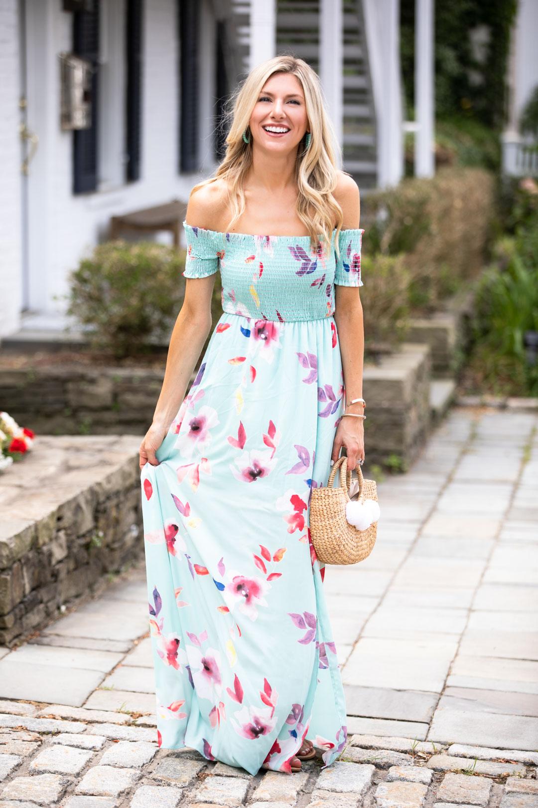 Red Dress Boutique Blue Floral Maxi Dress