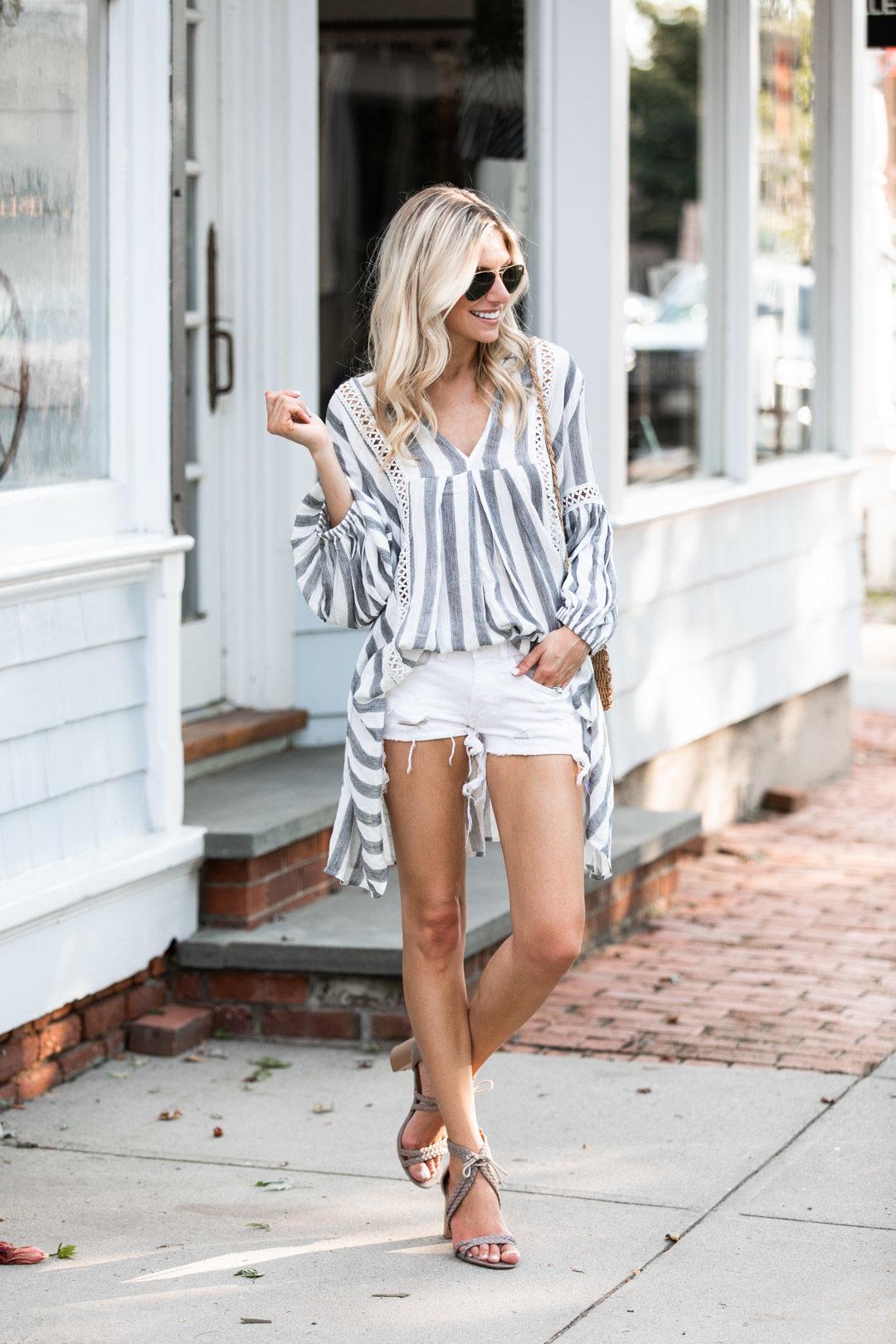 Chicwish Blue and White Striped Tunic