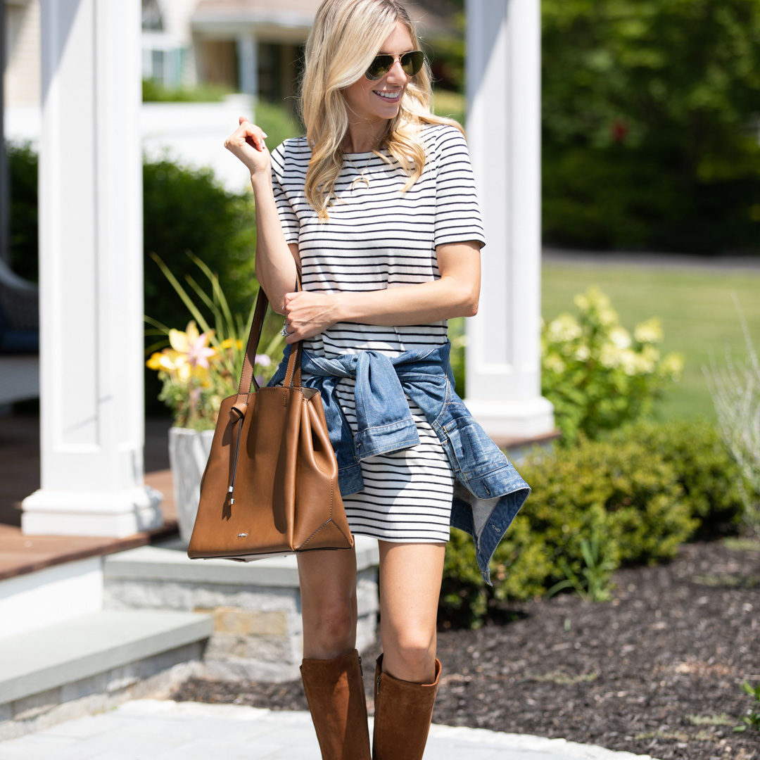 Casual Striped Dress & Suede Boots