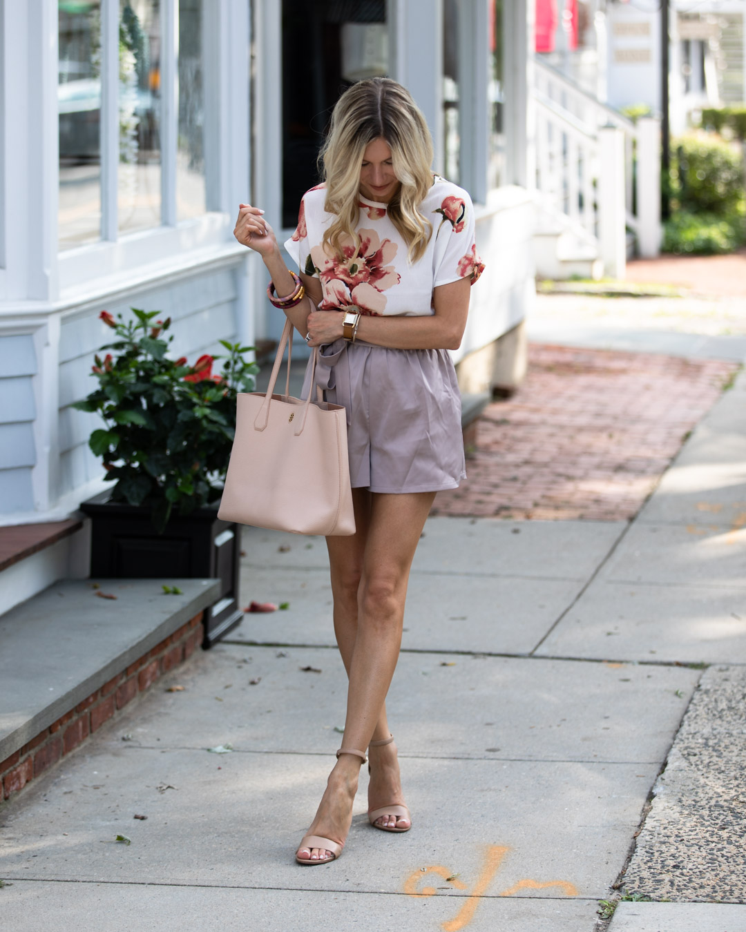 Shein Floral Top & Lilac Shorts