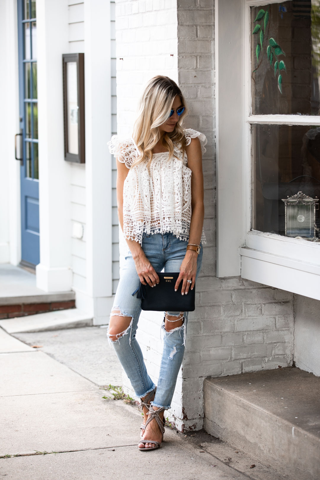 Chicwish Lace Flutter Sleeve Bubble Top